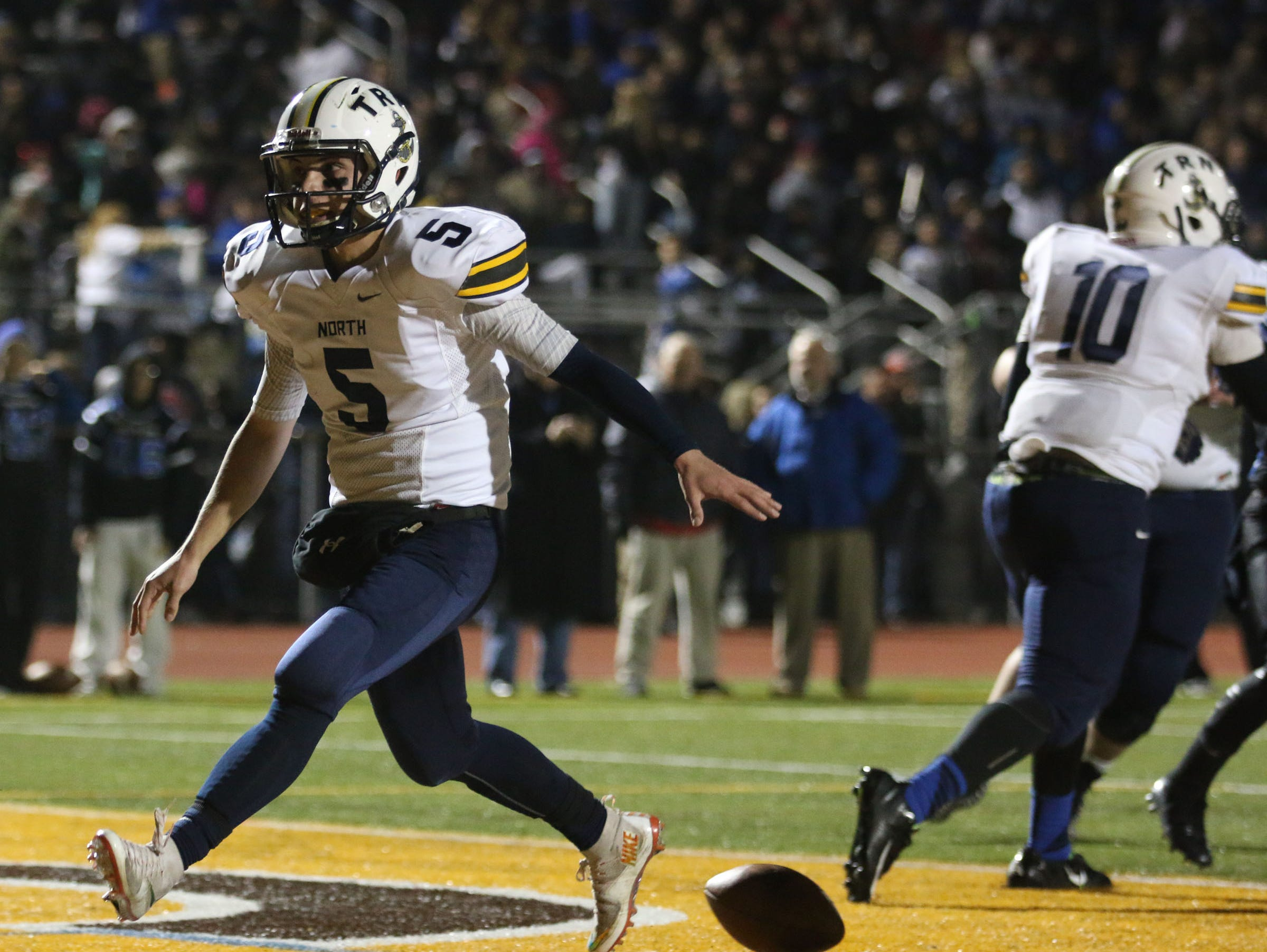 Toms River North's Michael Husni scores a touchdown. Toms River North defeats Williamstown for the NJSIAA Group V State Championship title. Glassboro, NJ Saturday, December 5, 2015 @dhoodhood