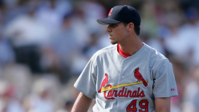 Rick Ankiel pitching for the Cardinals in 2004.