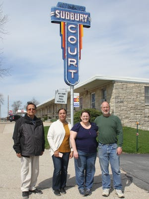 The new owners of Sudbury Court Motel and RV Park, Ghazia (far left) and Shahnaz Khan (second from left), have acquired the Marengo motel from Tony (right) and Tricia Hocamp.