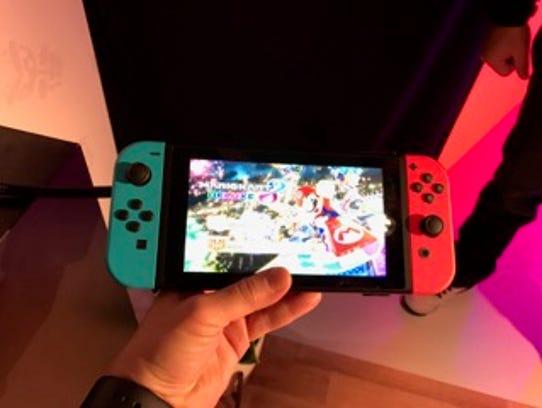An undocked Nintendo Switch.
