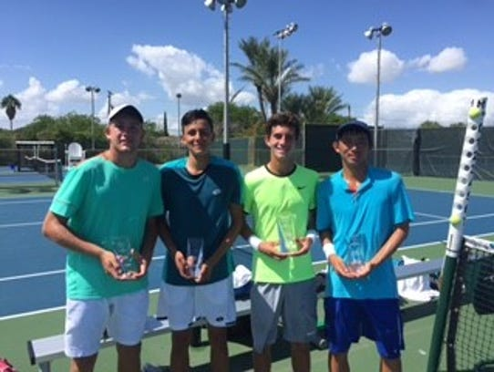 Boys 18 Doubles Finals (R to L) Kevin Zhu (Pearland)