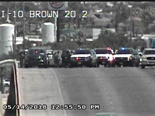 Law enforcement vehicles block Interstate 10 West east