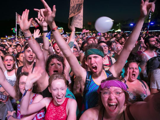 Firefly fans cheer as Muse performs at Firefly Music Festival at The Woodlands in Dover.