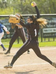 Elaine Gerou sends a pitch toward the plate during her Plymouth prep career. She will join Schoolcraft's first softball team in 2016.