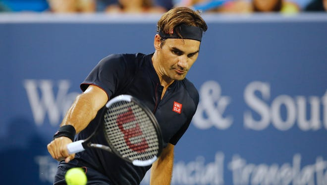 Roger Federer at the Western and Southern Open at the Lindner Family Tennis Center in Mason Monday, August 13, 2018.