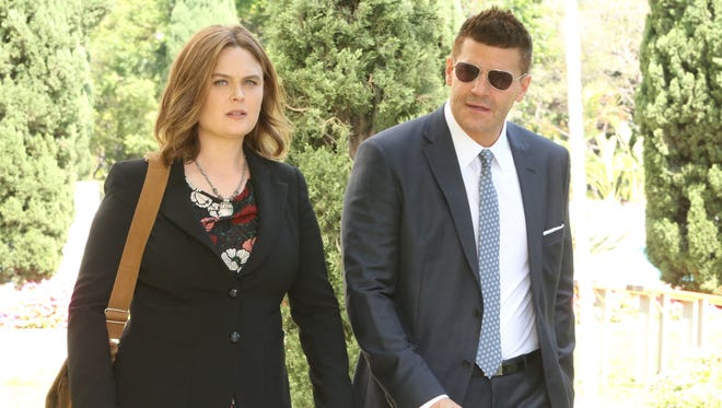 Emily Deschanel, left, and David Boreanaz starred in 'Bones,' which ran from 2005 to 2017 on Fox.