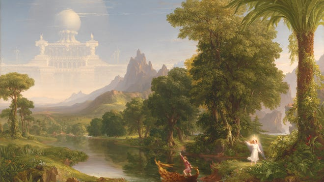 """""""The Voyage of Life: Youth"""" (1840). From the Taft's explanation: """"Cole's traveler, now a young adult, grasps the boat's tiller and reaches up toward his destiny, while his guardian angel points the way from the riverbank. This event takes place in one of the most beautiful landscapes Cole ever painted."""""""