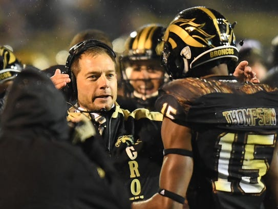 Western Michigan coach P.J. Fleck on the sideline during
