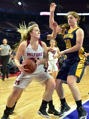 Milford's Megan Wallace (with ball) and South Lyon's