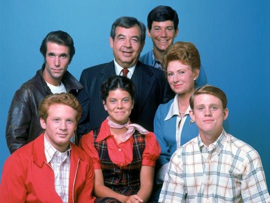 Happy Days cast. Anson Willliams, top right