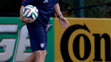 United States coach Jurgen Klinsmann holds a soccer ball during a training session Monday in Sao Paulo.