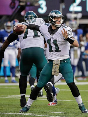 Philadelphia Eagles quarterback Carson Wentz (11) throws against the New York Giants during the third quarter Sunday at MetLife Stadium.