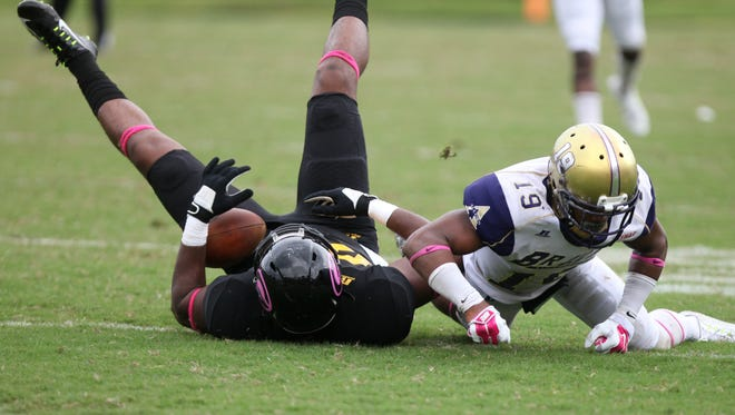 Grambling Tigers play Alcorn State during a football game Saturday at Eddie Robinson Stadium Saturday, Oct. 11, 2014. The Tigers won the game 28-21.