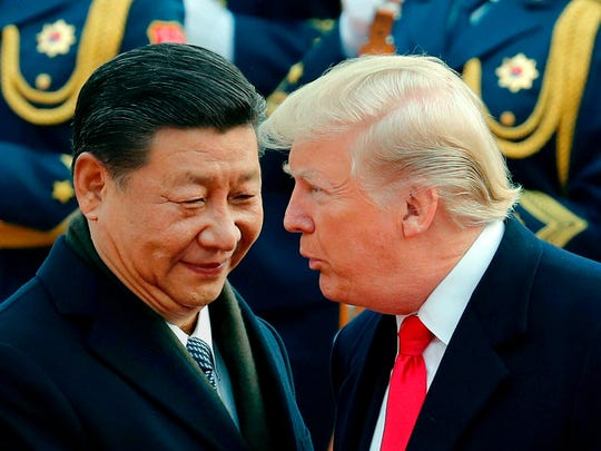 President Donald Trump and Chinese President Xi Jinping in Beijing on November 9, 2017