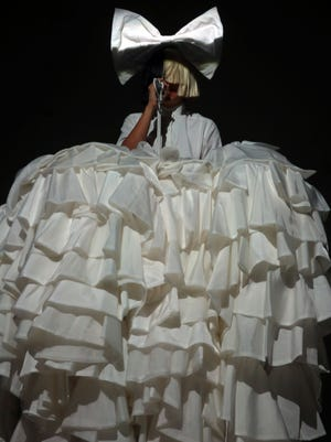 Sia performs on the Coachella Stage Sunday, April 24, 2016, during the final night of the Coachella Valley Music and Arts Festival in Indio, Calif.