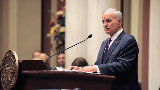 Minnesota Gov. Mark Dayton delivers his State of the State address before a joint session of the Legislature on April, 30 in St. Paul, Minn.