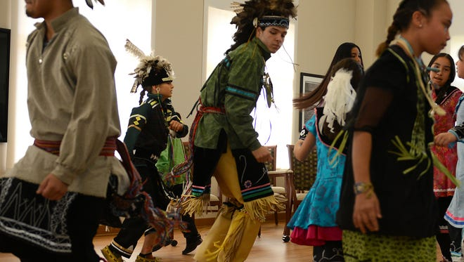 Oneida Nation dancers perform during the visit by Jane Chu, chairwoman of the National Endowment for the Arts, at the Anna John Resident Center Care Community on Wednesday.