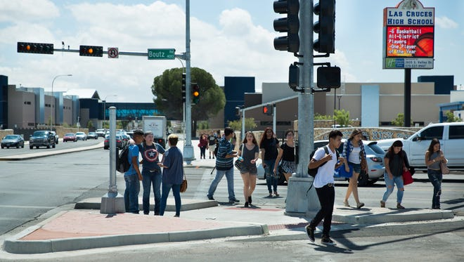 Las Cruces High School students stroll on El Paseo Road during a lunchtime break in 2016.