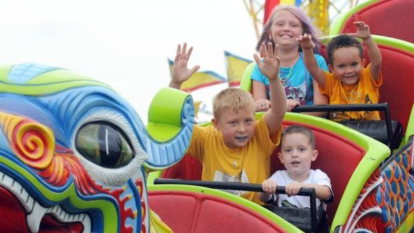 Kids can enjoy rides on the midway at the Marion County Fair, which opens Friday, June 20, at 7300 E. Troy Ave.