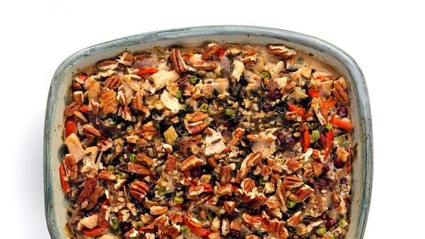 Chicken Wild Rice Pecan Casserole.