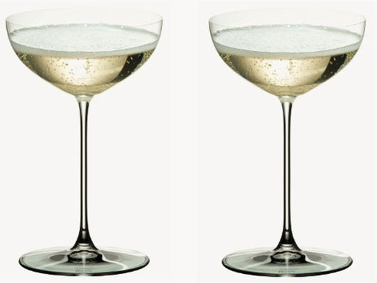 Riedel's Veritas coupe glasses bring old-school sipping to a fresh level. Fill them with affordable Gruet sparkling wines made in New Mexico and stay home for Valentine's Day.