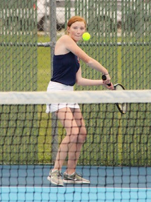 Pontiac's Kelsey Ransom was able to get her No. 4 singles match started Thursday afternoon, but the rain fell before it could be finished.