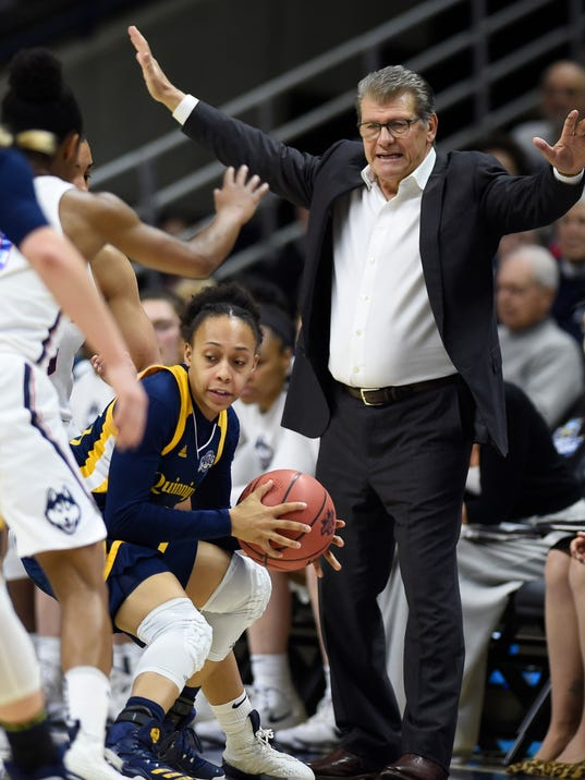 Connecticut head coach Geno Auriemma gestures during the first half of a second-round game against Quinnipiac in the NCAA women's college basketball tournament in in Storrs, Conn., Monday, March 19, 2018. (AP Photo/Jessica Hill)