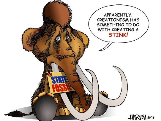 """A baby wooly mammoth says, """"Apparently, creationism has something do to with creating a stink!"""""""