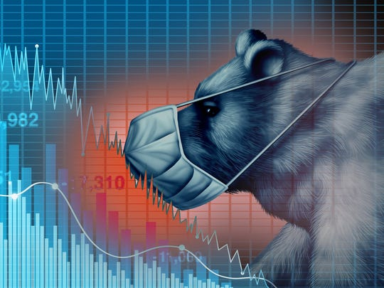 Bear wearing a mask and seeing the stock market crash.