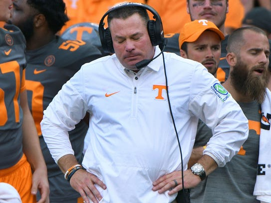 Tennessee Head Coach Butch Jones reacts during the