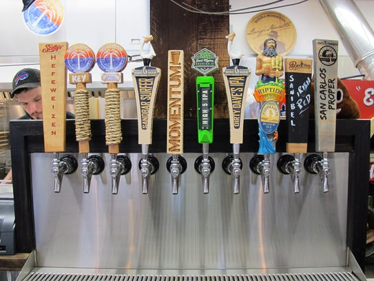 LowBrow Pizza & Beer has 10 local craft beers on tap.