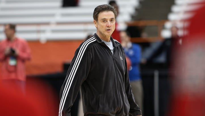 U of L head coach Rick Pitino conducts practice ahead of playing NC State in the Sweet 16 in the NCAA tournament.