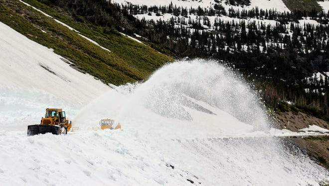 Big Drift plowing efforts on Going-to-the-Sun Road in Glacier National Park on June 7, 2018.