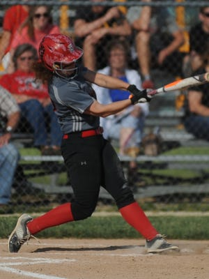 Knightstown's Vivian Goodpaster swings at a pitch against Union County during the sectional championship game Wednesday, May 25, 2016.