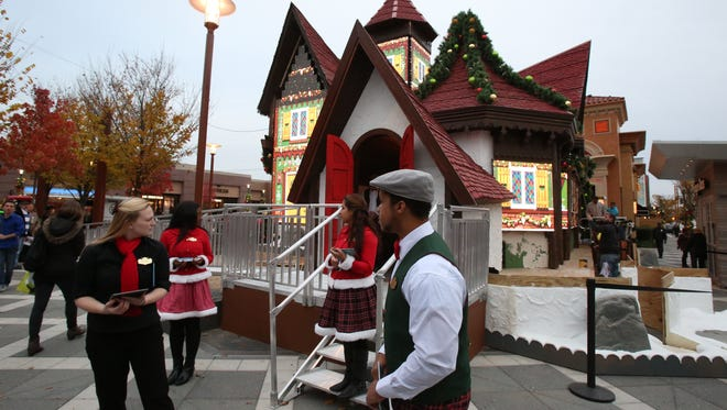 """Animated lighted panels on the exterior walls of DreamWork's new """"North Pole Adventure"""" attraction at Ridge Hill in Yonkers Nov. 4, 2014."""