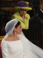 Queen Elizabeth II looks on during the wedding of Prince