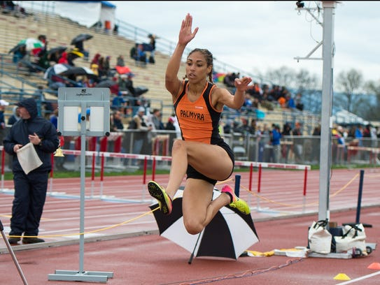 Palmyra's Camryn Simpson competes in the girls long