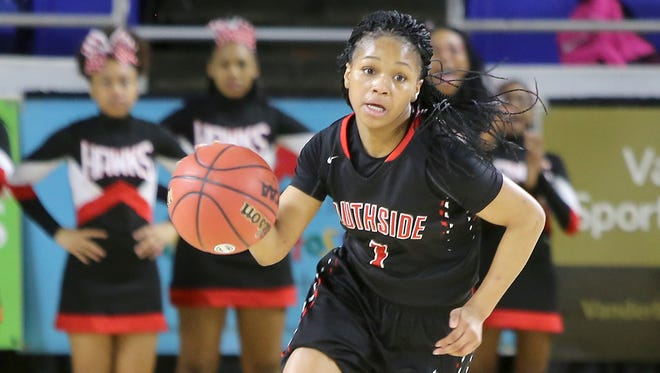 South Side's Quanardra Miller (1) takes the ball down court against Upperman during the TSSAA Class AA state quarterfinals at the Murphy Center in Murfreesboro, Tenn., on Wednesday, March 8, 2017.
