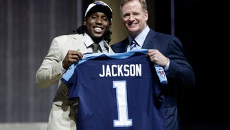 Southern California's Adoree' Jackson, left, poses with NFL commissioner Roger Goodell after being selected by the Tennessee Titans during the first round of the 2017 NFL football draft, Thursday, April 27, 2017, in Philadelphia. (AP Photo/Matt Rourke)