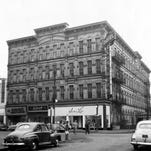 The Clarendon Hotel is shown in this Oct. 1955 file photo in downtown Zanesville. The hotel, which was located at 4th and Main Streets, was built in 1877 and demolished in 1972 to make way for a bank parking lot.