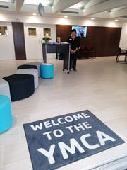 Entrance to the new YMCA lobby, with an appropriate mat.