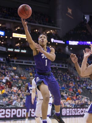 TCU's Desmond Bane puts up a shot during the first half of the Big 12 tournament semifinals against Kansas State on Thursday at Sprint Center in Kansas City.