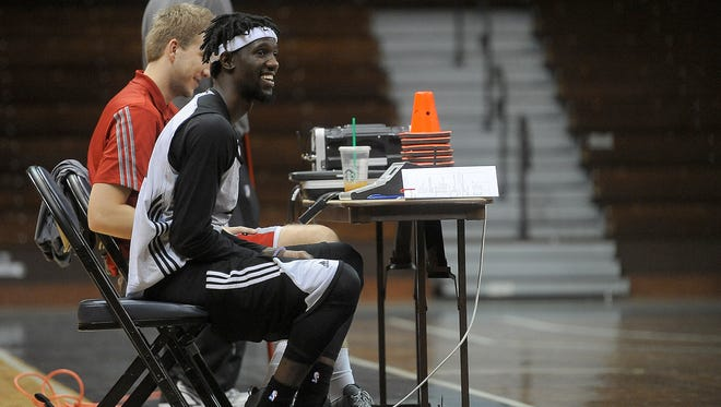 Sioux Falls Skyforce's Briante Weber is shown during practice at the Sanford Pentagon. Weber missed the second half of his 2014-15 season with VCU after he tore his ACL, MCL and meniscus.