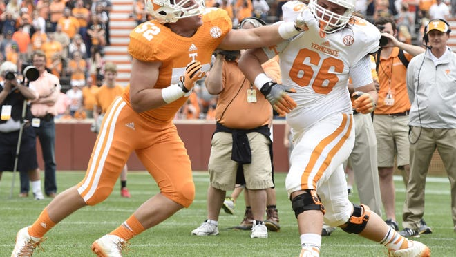 Tennessee defensive lineman Andrew Butcher (52) competes during the Orange and White Game activities at Neyland Stadium on April 25, 2015.
