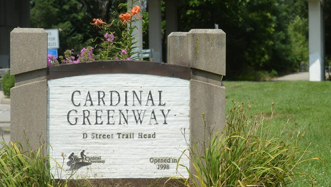 Richmond plans to purchase a 13-acre strip of land formerly owned by CSX Railroad that extends from the Cardinal Greenway Trailhead at North Third and D streets, seen here, to near the G Street Bridge. The Cardinal Greenway trail head at North Third and D streets Wednesday, July 29, 2015 in Richmond.