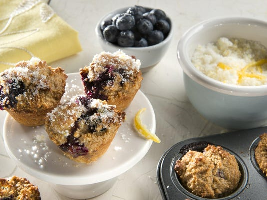 Mini-muffins bursting with blueberries and tangy lemon