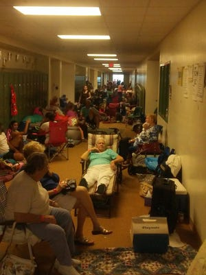 A look inside the Island Coast High storm shelter Sunday morning. This photo was taken by Janice Robison of North Fort Myers, who is staying there with her family.