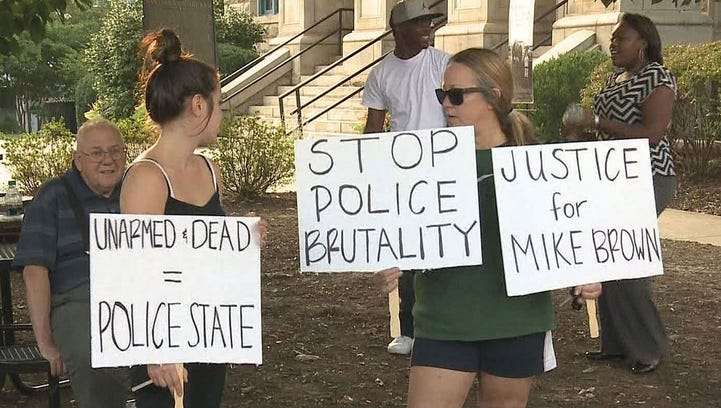 Protesters in Decatur Thursday night.