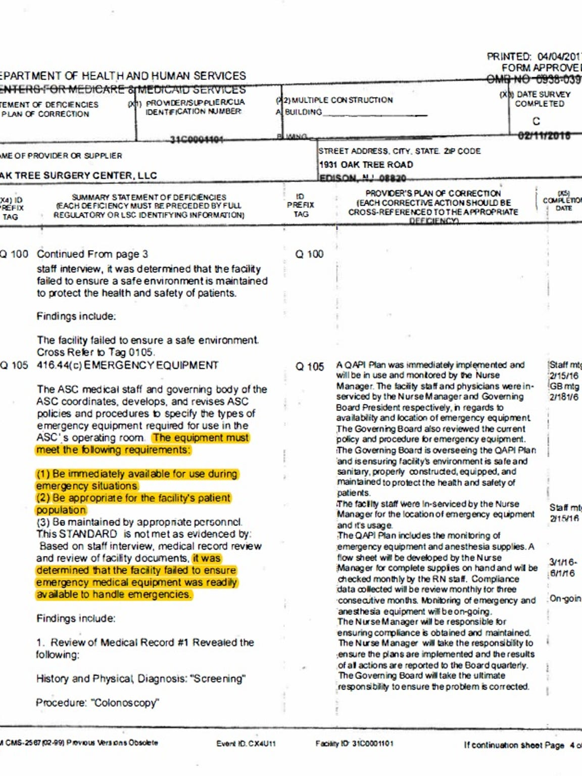 A page from the Health and Human Services inspection