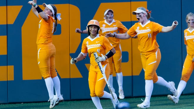 Players celebrate after Tennessee's Meghan Gregg (55) hit a home run during an NCAA Regional game between Tennessee and Longwood at Sherri Parker Lee Stadium in Knoxville, Tennessee on Friday, May 19, 2017.